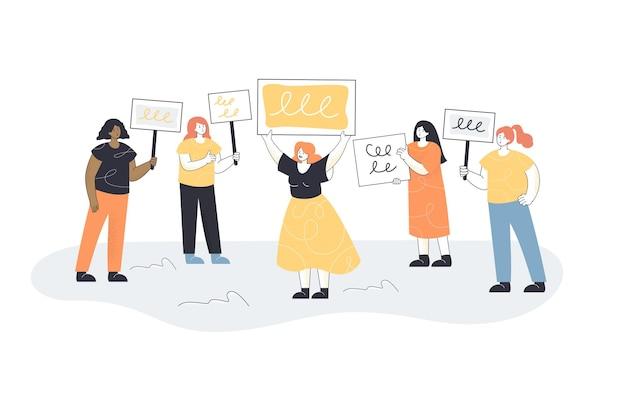 Vrouwen protesteren illustratie
