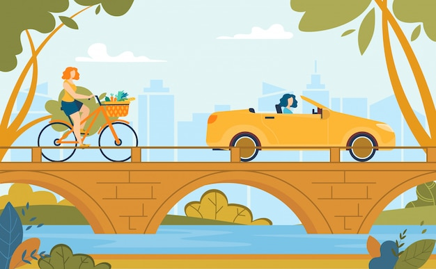 Vrouwen rijden fiets en rijden auto zomer cartoon