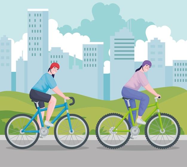 Vrouwen rijden op de fiets
