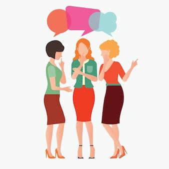 Vrouwen roddelen met kleurrijke dialoog tekstballonnen