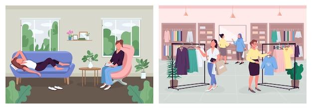 Vrouwen rusten en herstel methoden egale kleur illustratie set