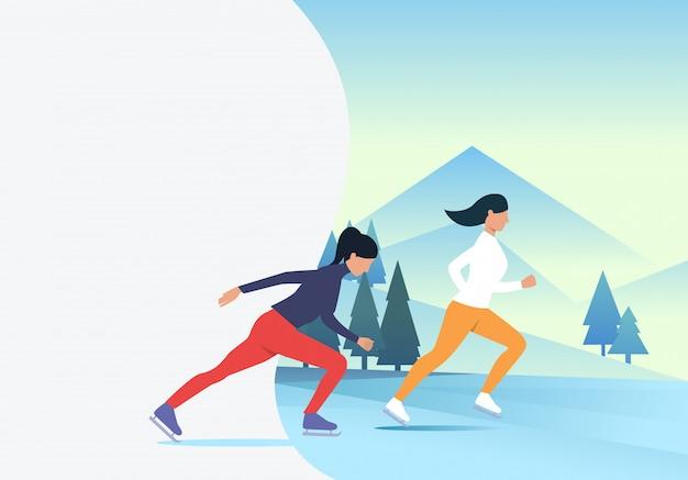 Vrouwen schaatsen met besneeuwde landschap