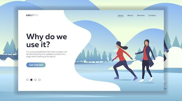 Vrouwen schaatsen op meer