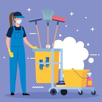 Vrouwen schoonmakende arbeider die medisch masker met het schoonmaken van karretje dragen, vrouwenportier die medisch masker met het schoonmaken van ontwerp van de karretje het vectorillustratie dragen