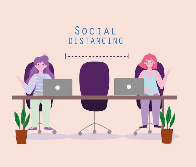 Vrouwen sociaal afstand nemen