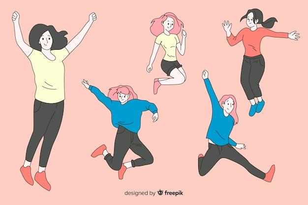 Vrouwen springen in koreaanse tekenstijl