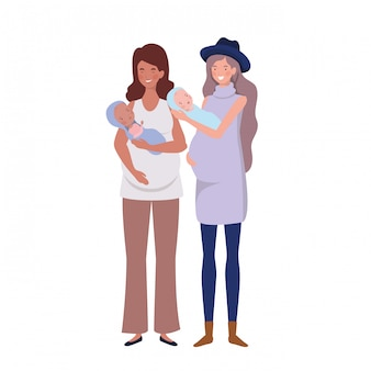 Vrouwen staan met een pasgeboren baby in haar armen