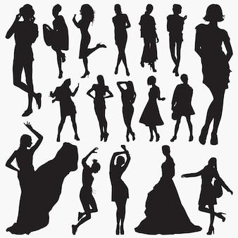 Vrouwen stijlvolle kleding silhouetten