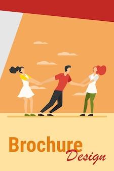 Vrouwen strijden om vriendje. meisjes trekken op man armen platte vectorillustratie. competitie, liefde, afgunst concept