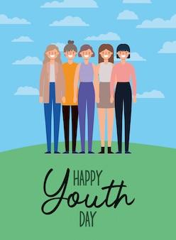 Vrouwen tekenfilms glimlachen van gelukkige jeugddag