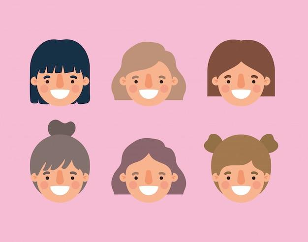 Vrouwen tekenfilms lachende hoofden