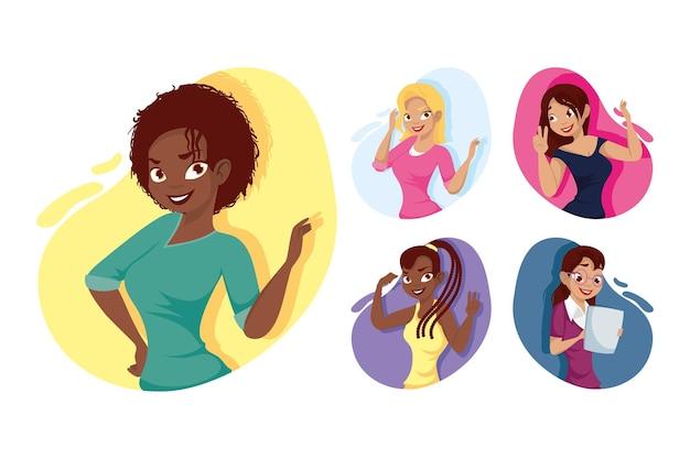 Vrouwen tekenfilms ontwerp, vrouw meisje vrouwelijke persoon mensen menselijke en sociale media thema vectorillustratie