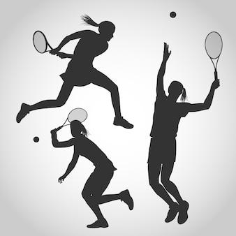 Vrouwen tennisspeler silhouet
