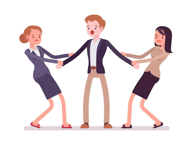 Vrouwen trekken aan een man