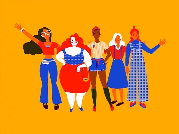Vrouwen van verschillende lichaamstypen en huidskleur zwaaien van vreugde. verschillende meisjes in verschillende kleding, vlakke stijl op gele achtergrond. internationale vrouwendag wenskaart of flyer.