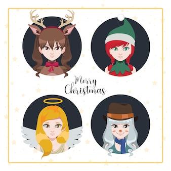 Vrouwen verkleed als kerstfiguren