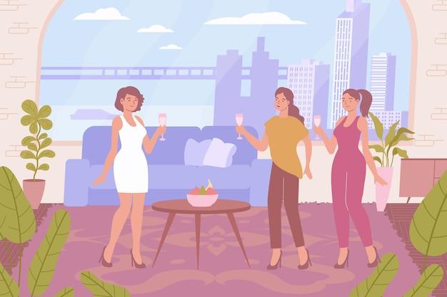 Vrouwen vieren vakantie met champagne plat