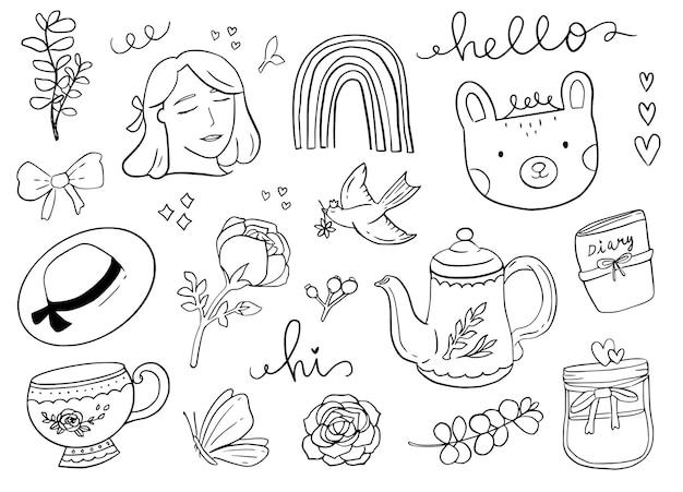 Vrouwen vrouwelijke doodle sticker omtrek tekenen. vogel en beerdier in witte illustratie als achtergrond