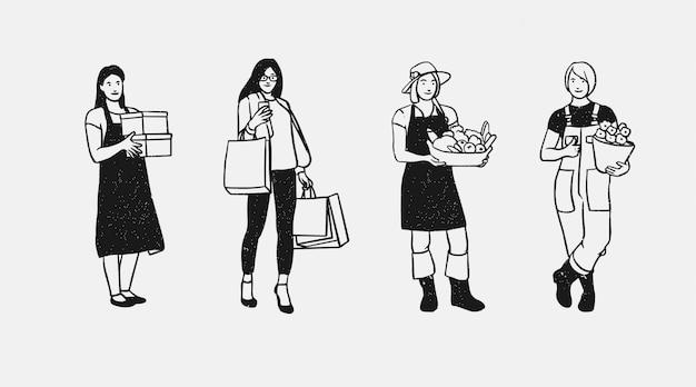 Vrouwen werknemer handgetekende arbeid collectie