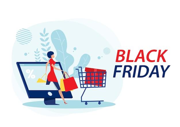 Vrouwen winkelwagentje en tassen. grote korting, zwarte vrijdag op laptop plat