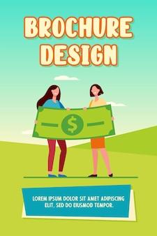 Vrouwen winnen geldprijs. gelukkige meisjes die enorme platte vectorillustratie van het dollarbankbiljet houden