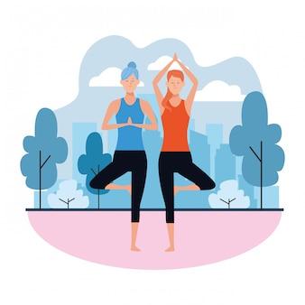 Vrouwen yoga houdingen