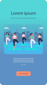 Vrouwen yogagroep plat