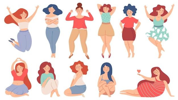 Vrouwen zelfliefde. trotse volwassen vrouw zorgt en knuffelt zichzelf, houdt hart vast. gelukkig zelfverzekerde vrouw. houd van jezelf en lichaam positieve vector set. verschillende meisjes met overgewicht of grote maten in harmonie