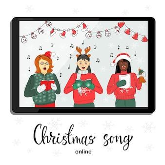 Vrouwen zingen kerstliedjes online vector