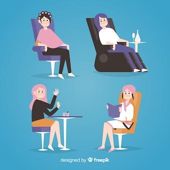 Vrouwen zitten op stoelen van verschillende plaatsen wereldwijd