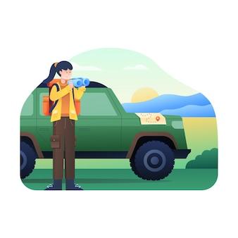 Vrouwen zoeken bestemmingen met verrekijker en auto