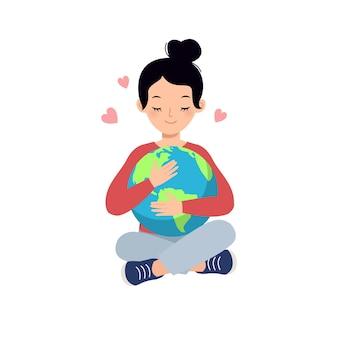 Vrouwenactivist knuffel de aardbol save the planet-concept flat