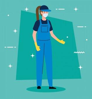 Vrouwenarbeider van de schoonmakende dienst die het medische ontwerp van de maskerillustratie dragen