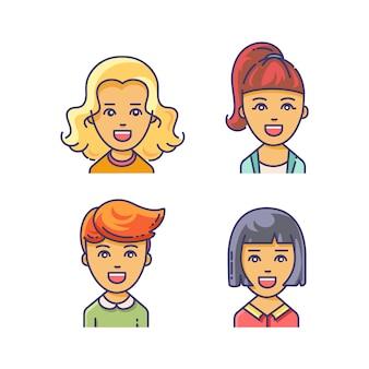 Vrouwenavatar met verschillende kapsels.