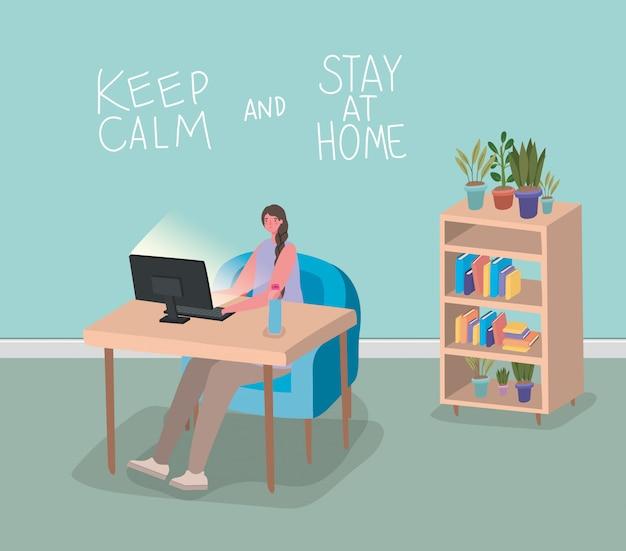 Vrouwenbeeldverhaal met computer op bureauontwerp van thuis verblijf en de illustratie van het activiteitenthema