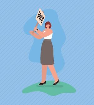 Vrouwenbeeldverhaal met het ontwerp van de stembanner, de dag van de stemverkiezingen en het overheidsthema.