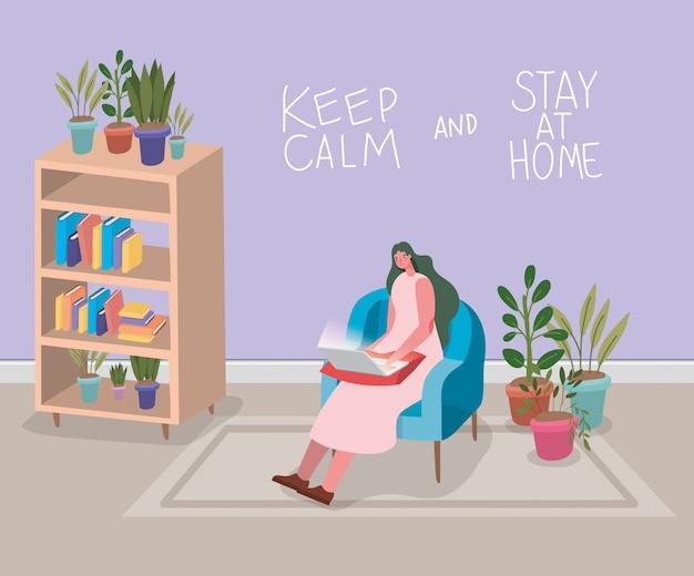 Vrouwenbeeldverhaal met laptop op stoelontwerp van thuis verblijf en de illustratie van het activiteitenthema