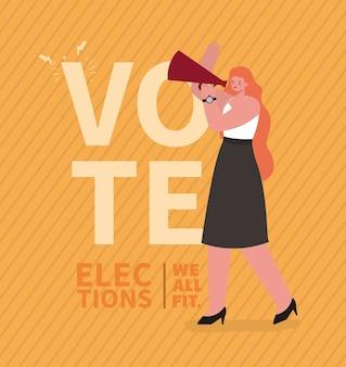 Vrouwenbeeldverhaal met megafoonontwerp, verkiezingsdag en overheidsthema.