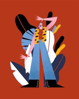 Vrouwenbeeldverhaal met puntig jasje en spijkerbroek op bladeren achtergrondontwerp, meisje vrouwelijke persoon mensen menselijke en sociale media thema illustratie