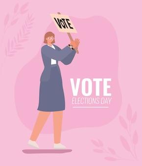 Vrouwenbeeldverhaal met stembanner en bladerenontwerp, verkiezingsdag en overheidsthema.