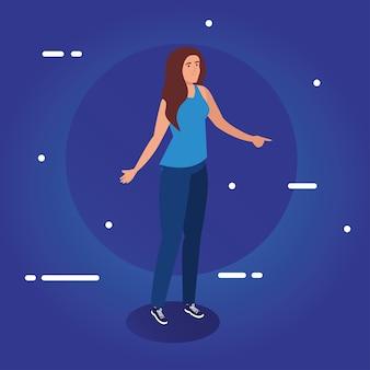 Vrouwenbeeldverhaal op blauw ontwerp als achtergrond, meisje vrouwelijke persoon mensen menselijke en sociale media thema