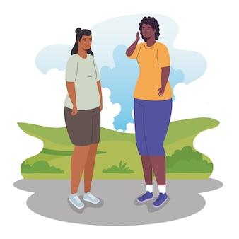 Vrouwenbeeldverhalen bij parkontwerp, de vrouwelijke persoon van het vrouwenmeisje en mensen