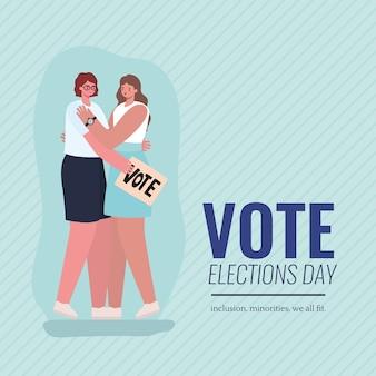 Vrouwenbeeldverhalen die met het ontwerp van het stemaanplakbiljet, de verkiezingsdag van de stemming knuffelen