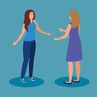 Vrouwenbeeldverhalen op blauw ontwerp als achtergrond, de vrouwelijke persoon van het vrouwenmeisje en mensenthema