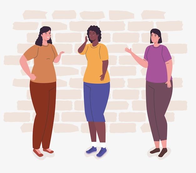 Vrouwenbeeldverhalen voor muurontwerp, vrouwenmeisje vrouwelijke persoon en mensen
