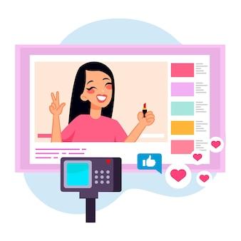 Vrouwenbeïnvloeder die nieuwe video opnemen