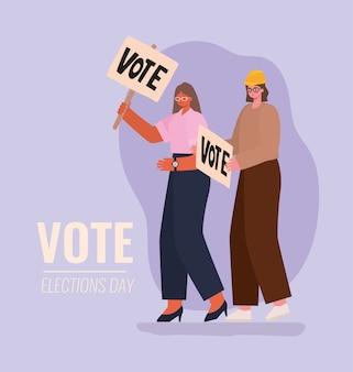 Vrouwencartoons met het ontwerp van de stemplakkaten, de verkiezingsdag van de stemming