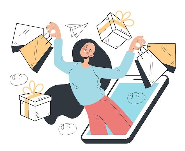 Vrouwenconsumentenkarakter die online aankopen doen via smartphoneconcept
