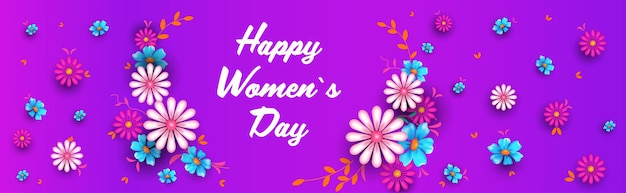 Vrouwendag 8 maart concept vakantie viering belettering wenskaart poster of flyer met bloemen horizontale illustratie