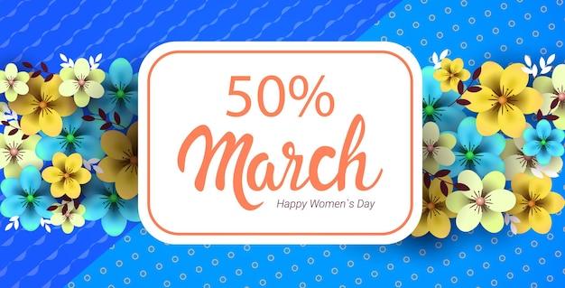 Vrouwendag 8 maart concept vakantie viering wenskaart poster of flyer met bloemen horizontale illustratie